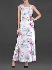 Printed Crepe Maxi Dress With Slits - OSHEA