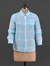 Blue Checks Printed Georgette Shirt - OSHEA