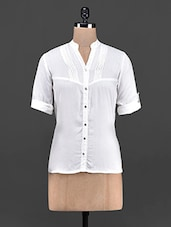 White Roll Up Sleeves  Cotton Shirt - OSHEA