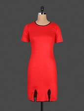 Round Neck Red Bodycon Dress With Slits - By