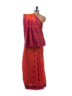 Orange and Purple South Silk Saree - Saboo