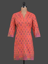 Printed Peach Cotton Kurta - RIYA