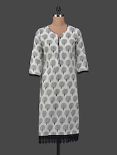 Lace Border Scroll Tree Printed Kurta - Libas