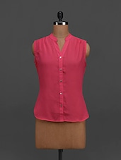 Coral Pink Sleeveless Georgette Top - Tapyti