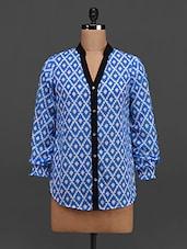 Blue Printed Long Sleeves Georgette Top - Tapyti