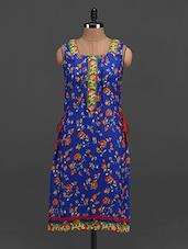 Floral Print Side Strings Sleeveless Rayon Kurti - Tapyti