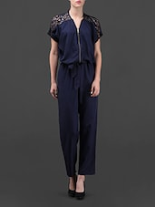 Navy Blue Jumpsuit With Lacy Shoulders - VEA KUPIA