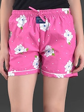Pink Floral Print Cotton Shorts - London Bee