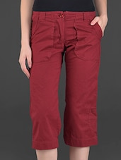 Solid Maroon Knee-length Cotton Pants - London Bee