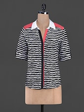 Striped Poly Georgette And Crepe Shirt - AVIDDIVA