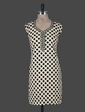Beige Polka Dots Printed Cotton Kurta - CRAZORA