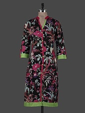 Black Floral Printed Cotton Kurta - CRAZORA