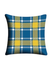 Blue & Yellow Checks Printed Cushion Cover - Mesleep