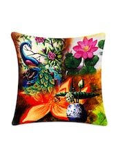 Peacock Floral Digitally Printed Cushion Cover - Mesleep