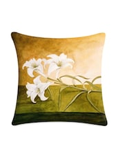 White Flower Printed Satin Cushion Cover - Mesleep