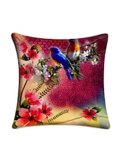 Flower With Bird Printed Cushion Cover - Mesleep