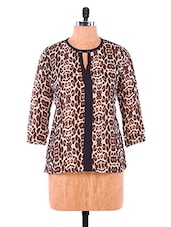 Brown Animal Print Georgette Top - VICTORIAN CLOTHING