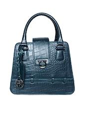 Textured Dark Blue Pure Leather Handbag - Phive Rivers