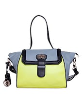 Lime And Blue Pure Leather Shoulder Bag - Phive Rivers