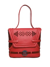 Textured Red Pure Leather Shoulder Bag - Phive Rivers
