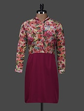 Floral Print Mandarin Collar Dress - Color Fuel