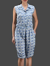 Printed Knee Length Rayon Jumpsuit - Color Fuel