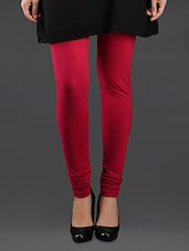 Elastic Waist Cotton Leggings - Lady In Red