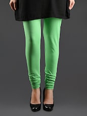Green Elastic Waist Cotton Leggings - Lady In Red