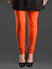 Orange Elastic Waist Cotton Leggings - Lady In Red