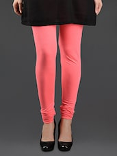 Pink Elastic Waist Cotton Leggings - Lady In Red
