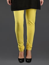Yellow Elastic Waist Cotton Leggings - Lady In Red