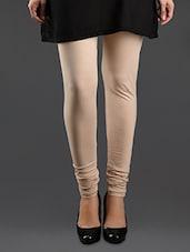 Churidaar Beige Cotton Leggings - Lady In Red