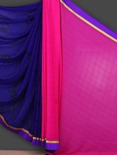 Purple & Pink Printed Georgette Saree - Saara