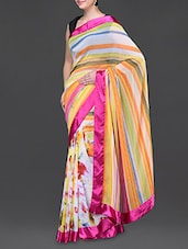 Striped Pallu Floral Print Georgette Saree - Bhavi