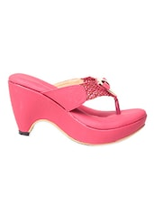 Pink Leatherette Heels With Braided Straps - Feel It