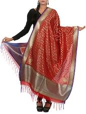Red Banarasi Silk Hand Woven Dupatta - By