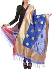 Blue Banarasi Silk Hand Woven Dupatta - By