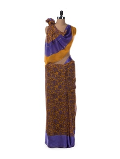 Mustard And Blue Georgette Saree With Satin Border - Saboo