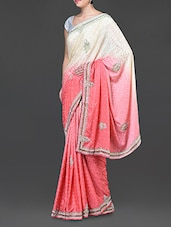 Cream And Peach Embellished Silk Crepe Saree - Jindal Saree