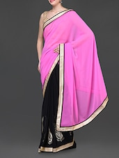 Pink And Black Saree With Gold Border - Jindal Saree