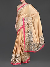 Beige Floral Detailed Saree With Fuchsia Border - Jindal Saree