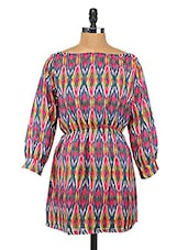 Printed Polyester Boat Neck Dress - Change360��