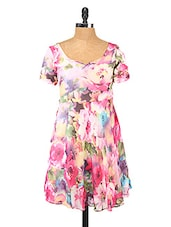 Floral Printed Fit And Flare Polyester Dress - Change360��
