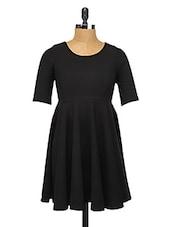 Black Polyester Skater Dress - Change360��