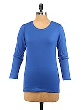 Blue Cotton Lycra Full-sleeve Top - Change360��