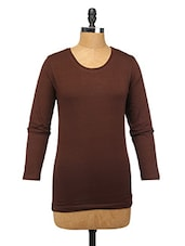 Brown Cotton Lycra Full-sleeve Top - Change360��