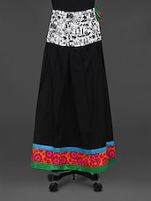 Black Printed Cotton Long Skirt - Parinita