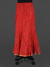 Red Leheriya Print Cotton Long Skirt - Rangsthali