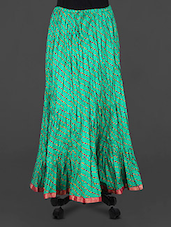 Green Leheriya Print Cotton Long Skirt - Rangsthali