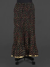 Black Leheriya Print Cotton Long Skirt - Rangsthali